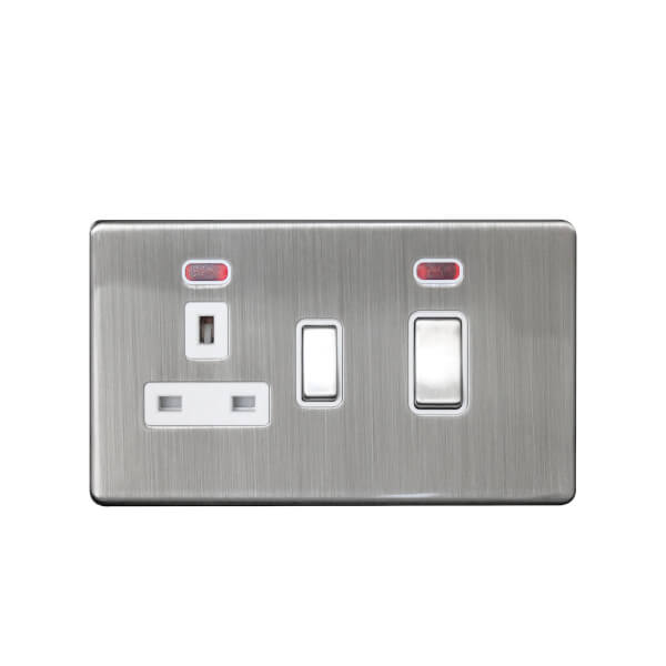 Arlec Metal Screwless 45 Amp Cooker Control Unit with Neon Stainless Steel