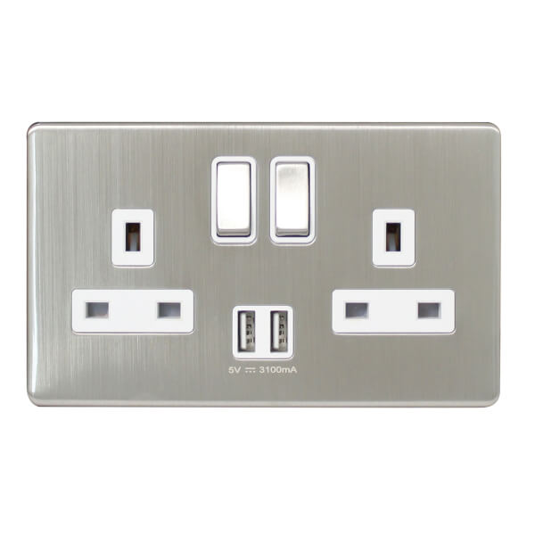 Arlec Metal Screwless 13 Amp 2 Gang Switched Socket with 2 x 3.A USB Stainless Steel