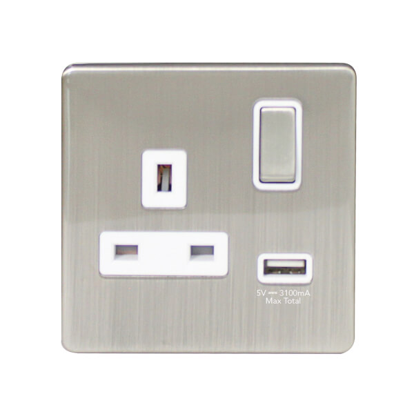 Arlec Metal Screwless 13 Amp 1 Gang Switched Socket with 2 x 2.1 Amp USB Stainless Steel