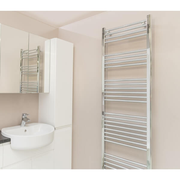 Straight Heated Towel Rail - 1800 x 500mm - Chrome