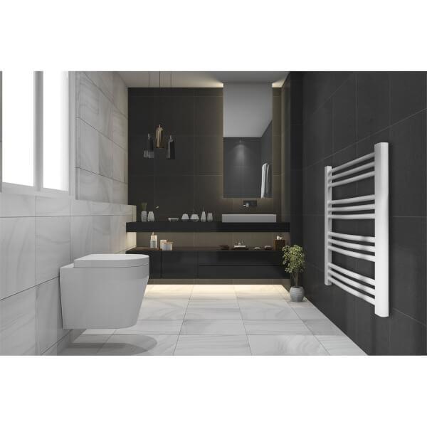 White Curved Heated Towel Rail - 1200 x 550mm