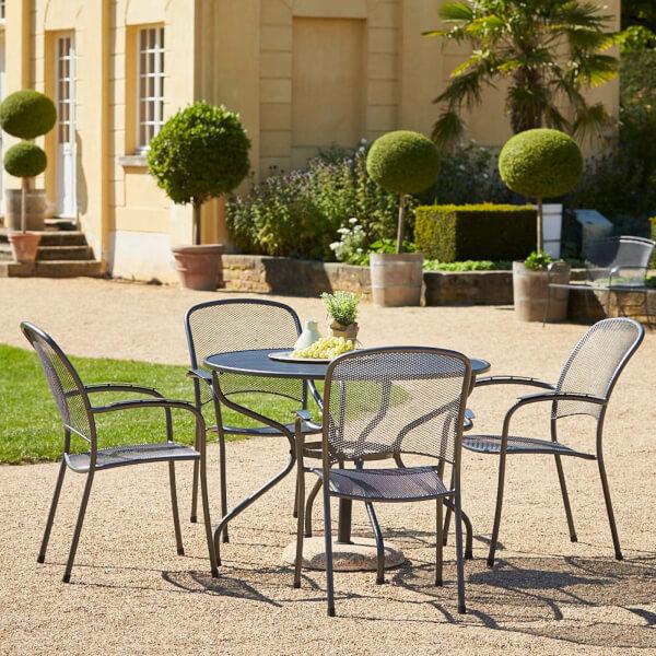 Royal Garden Metal Carlo 4 Seater Round Garden Furniture Set in Grey