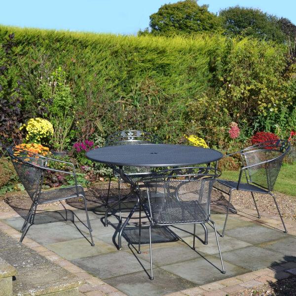 Royal Garden Metal Elegance 4 Seater Round Garden Furniture Set in Grey