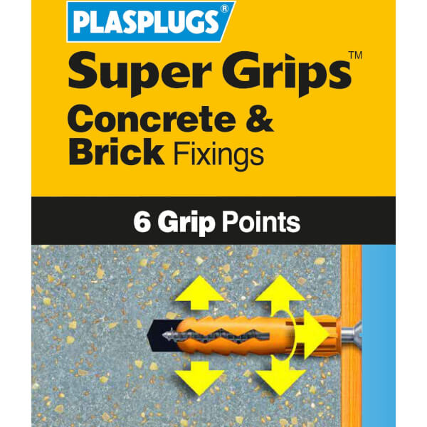 Plasplugs Yellow Solid Wall Fixings Clip Pack x 100