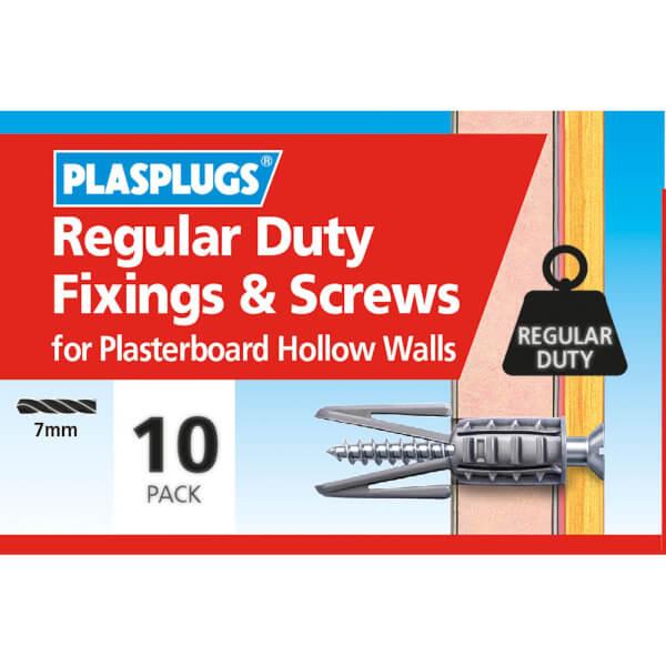 Plasplugs Standard Plasterboard & Screws x 10