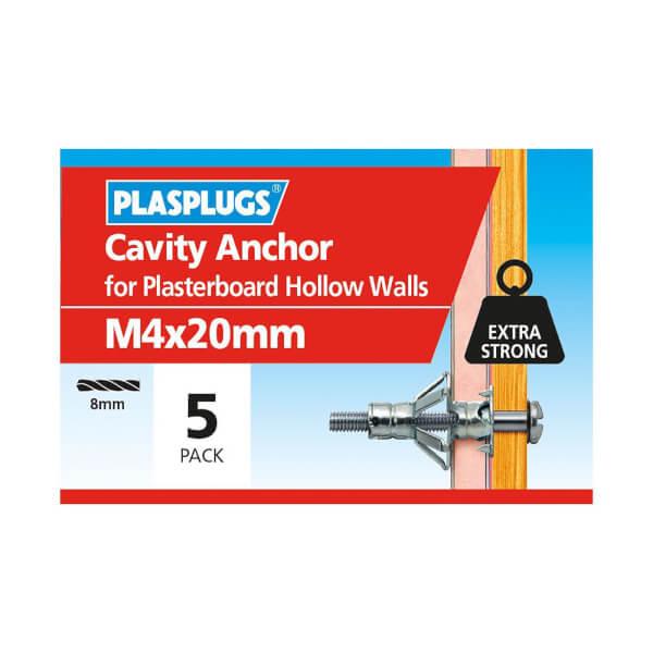 Plasplugs Cavity Anchor M4 x 20 - Pack of 5