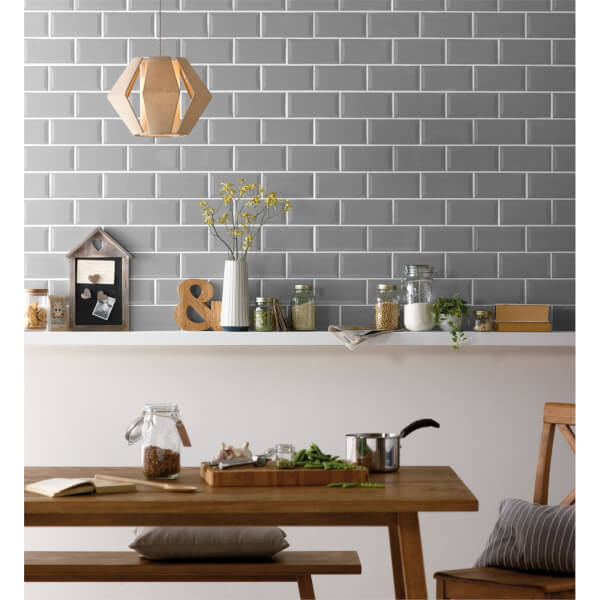 Metro Bevelled Grey Wall Tile - 200 x 100mm