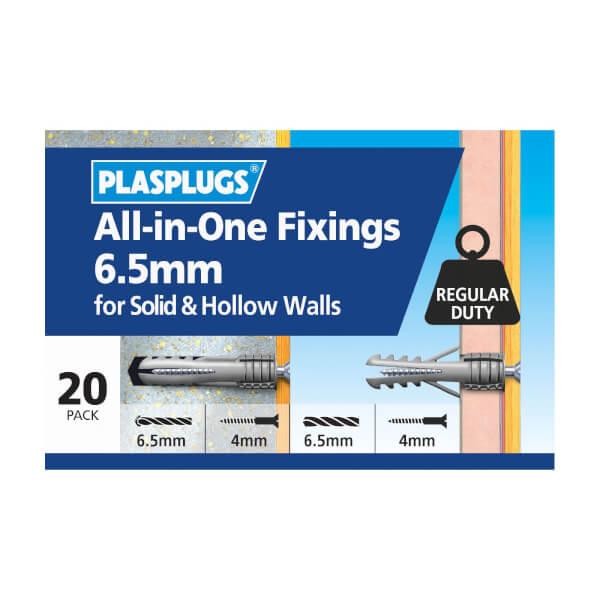 Plasplugs 6.5mm Multi Purpose Fixings x 20