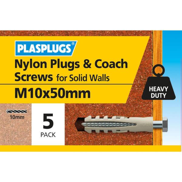 Plasplugs Nylon plug and M10 Coach Screws x 5