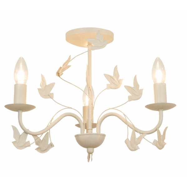Willow 3 Light Bird Fitting - Cream