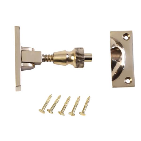 Screw Pattern Sash Window Fastener - Polished Brass - 55mm