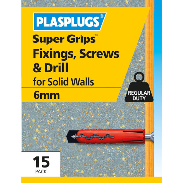 6mm Red Plugs & Screws + Drill 15 Pk