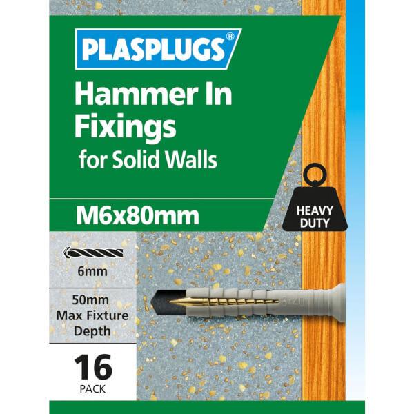 Hammer In Fixings M6 X 80 10 Pk