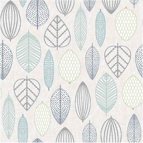 Superfresco Easy Paste the Wall Scandi Leaf Wallpaper - Blue