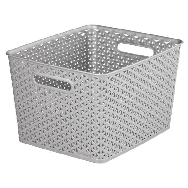 Curver My Style Large Rectangular Plastic Storage Basket - Grey - 18L