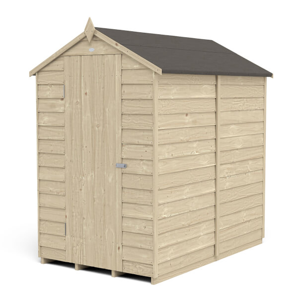 6x4ft Forest Overlap Pressure Treated Apex Shed - No Window incl. Installation