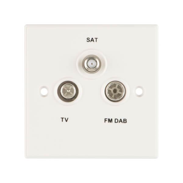 Arlec Square Edge Triplex TV, FM DAB and Satellite Socket White