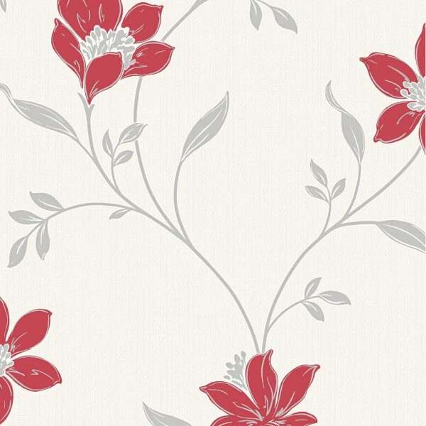 Superfresco Amelia Floral Red & Silver Wallpaper
