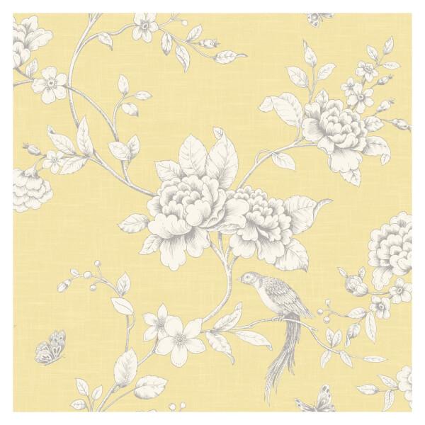 Grandeco Ellis Yellow Wallpaper