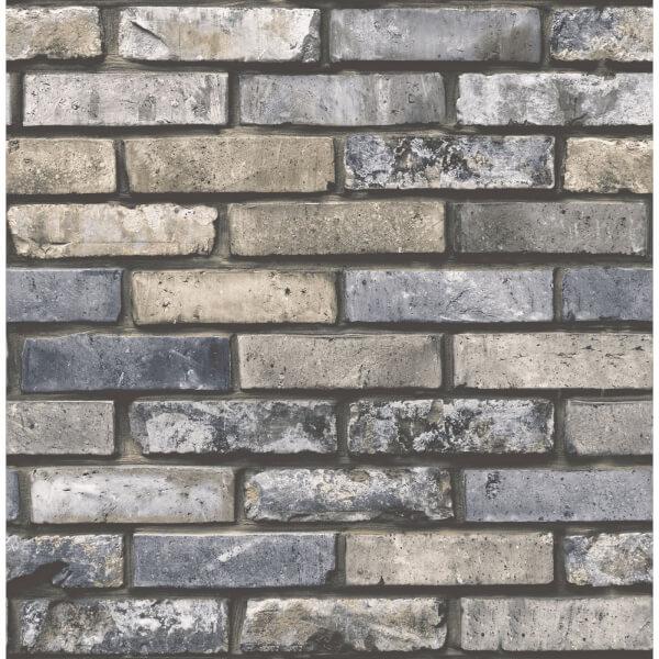 Fresco Brick Wall Black & Natural Wallpaper