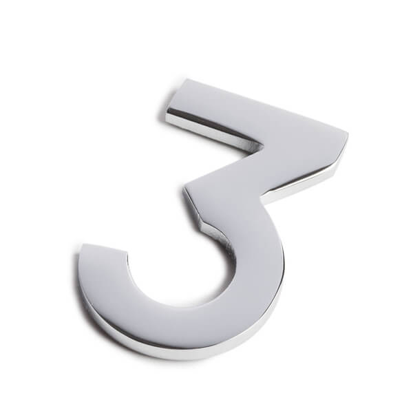 Chrome Self Adhesive House Number - 60mm - 3