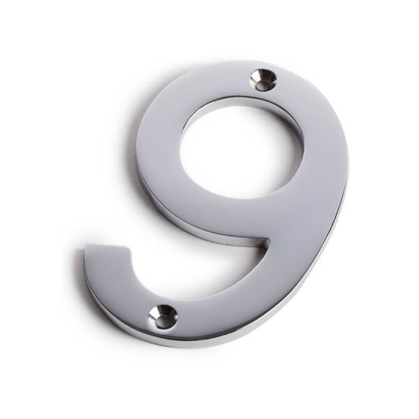 Chrome Screw Fixing House Number - 100mm - 9