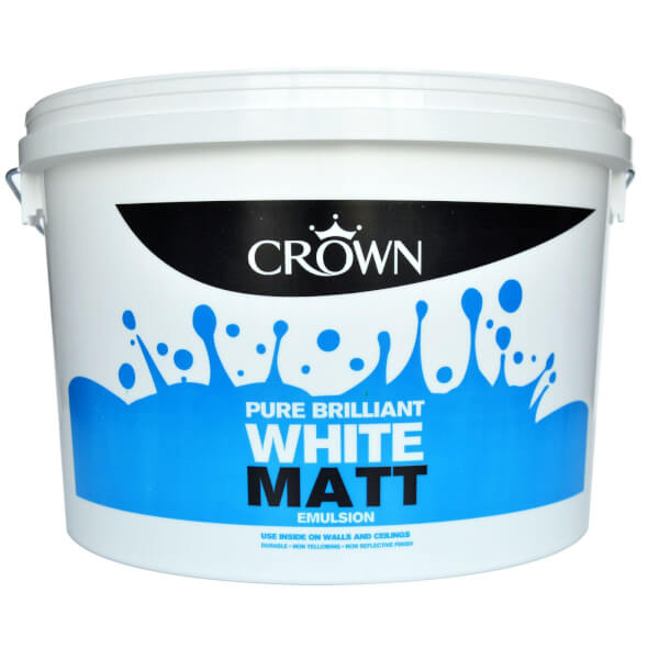 Crown Pure Brilliant White - Matt Emulsion Paint - 10L