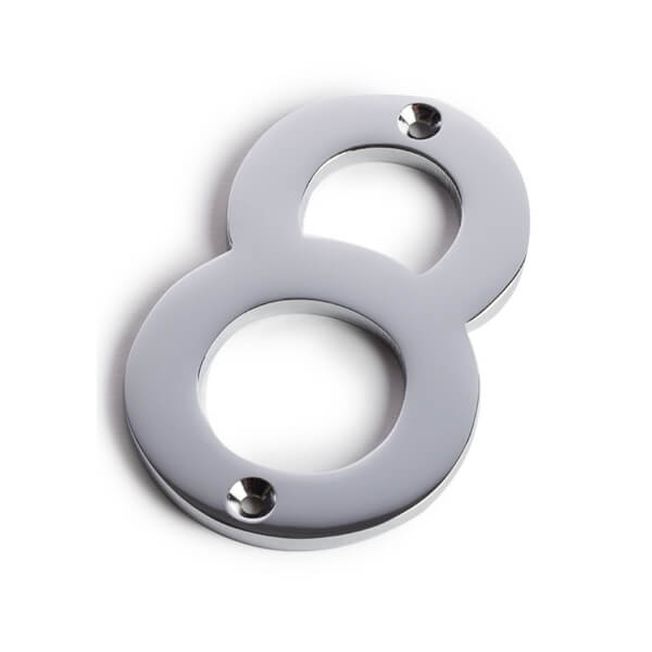 Chrome Screw Fixing House Number - 75mm - 8