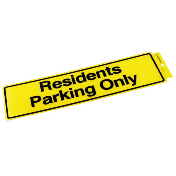 Self Adhesive Residents Parking Only Sign - 330 x 95mm