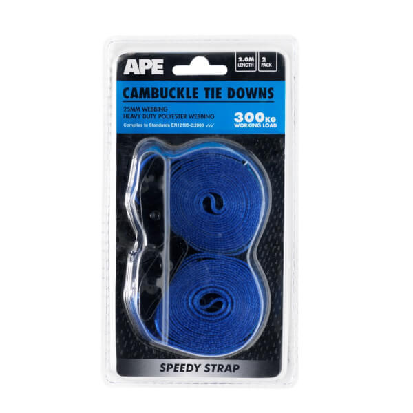 Cambuckle 300kg Tie Down - 2m x 25mm - 2 Pack