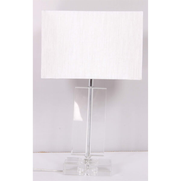 Olivia Flat Glass Column Table Lamp - Chrome