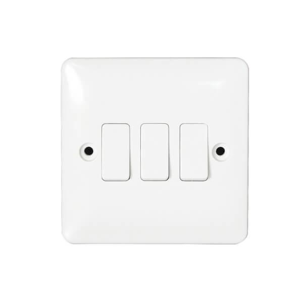 Arlec Slim Line 10 Amp 3 Gang 2 Way Switch White