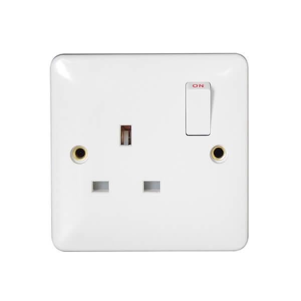 Arlec Slim Line 13 Amp 1 Gang Double Pole Switched Socket White