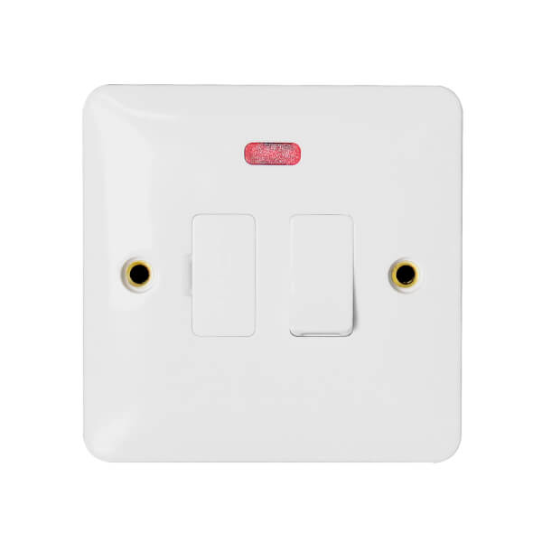 Arlec Slim Line 13A Switched Fused Connection Unit with Flex Outlet and Neon Indicator White