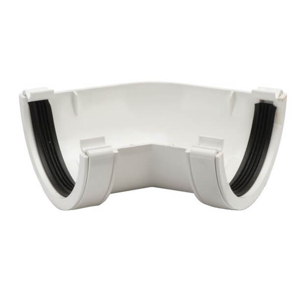 Polypipe Half Round Gutter Angle - 112mm x 135 Degree - White