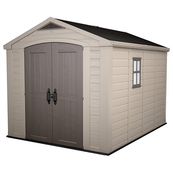 Keter Factor Outdoor Garden Storage Shed 8x11ft Beige/Brown