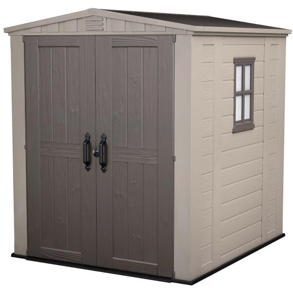 Keter Factor Outdoor Garden Storage Shed 6x6ft  Beige/Brown