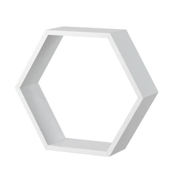 Hexagon Wall Shelf - White Matt