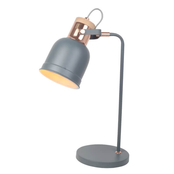 Barham Table Lamp - Matt Grey and Copper