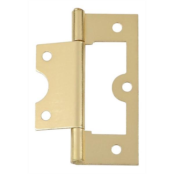 Hafele Flush Hinge - Electro Brass - 63 x 26mm - 2 Pack