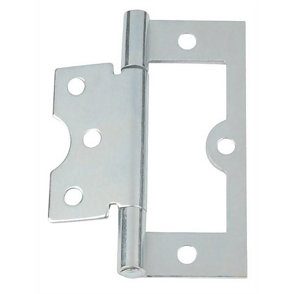 Hafele Flush Hinge - Bright Zinc Plated - 75 x 26mm - 2 Pack