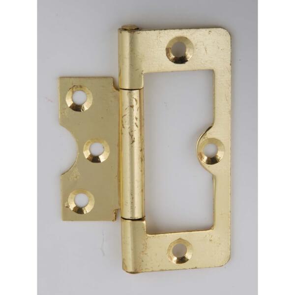 Hafele Flush Hinge - Electro Brass - 75 x 26mm - 2 Pack