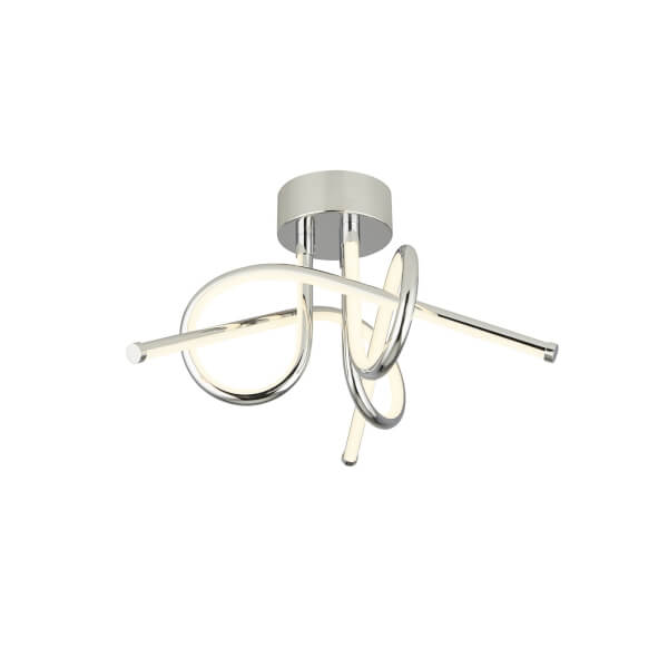 Esk Twist LED Striplight Ceiling Fitting - Chrome and White
