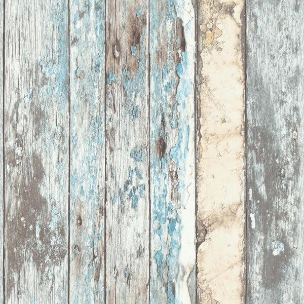 Grandeco Rustic Wood Teal Paste the Wall Wallpaper