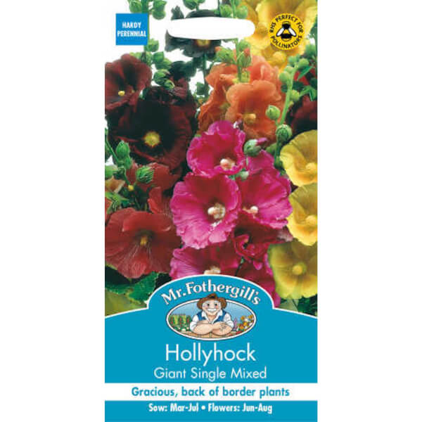 Hollyhock Giant Single Mixed (Alcea Rosea) Seeds