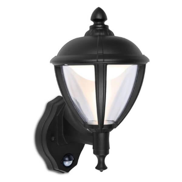 Lutec Unite 9W LED PIR Wall Light - Black