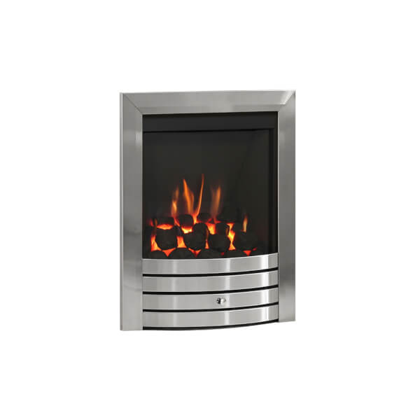 Be Modern Design Slimline Inset Gas Fire - Manual Control - Brushed Steel