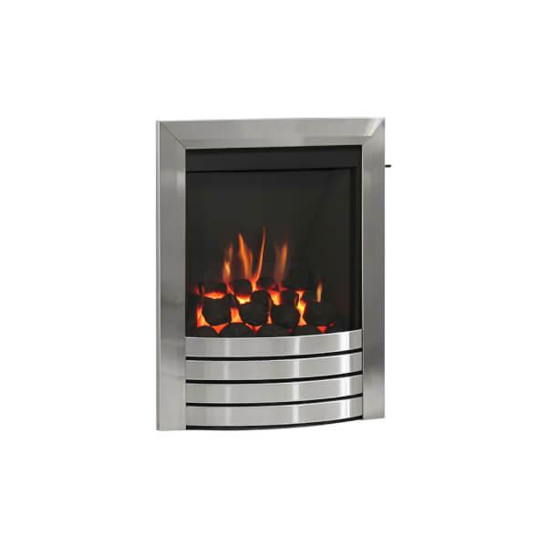 Be Modern Design Slimline Inset Gas Fire - Slide Control - Brushed Steel