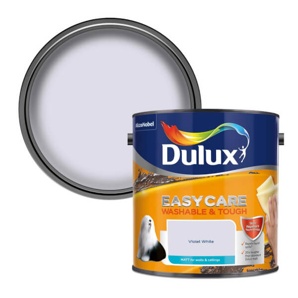 Dulux Easycare Washable & Tough Violet White Matt Paint - 2.5L