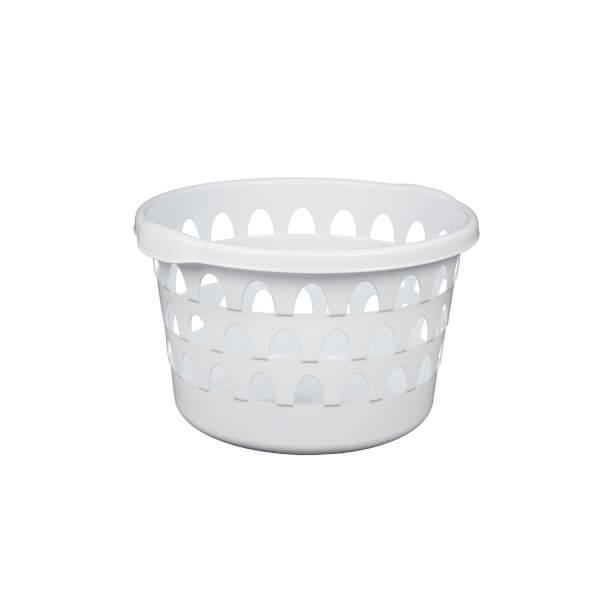 Strata Round Laundry Basket - White